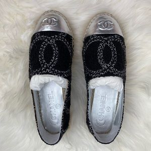 SOLDOUT New CHANEL Tweed Black Silver Espadrille